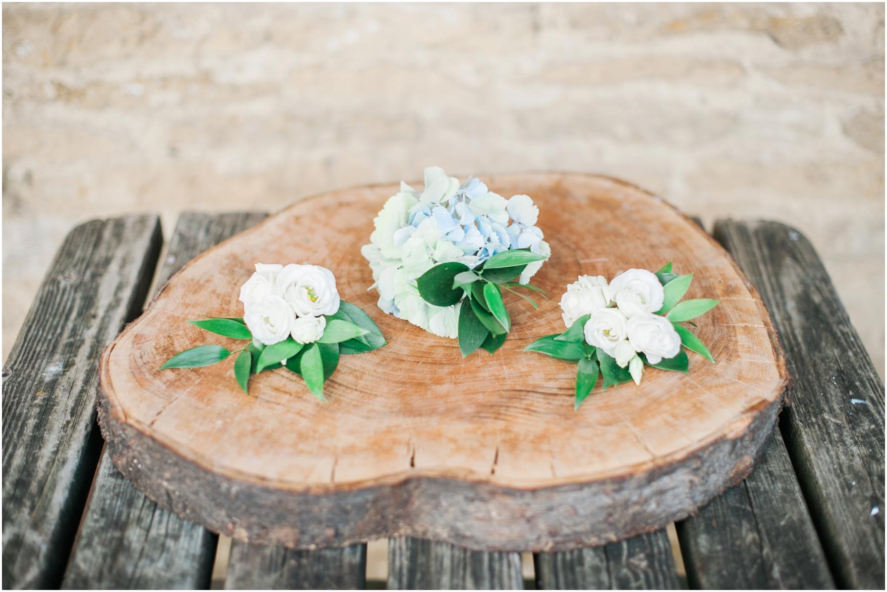 hydrangea flower pin holes lying on a tree stump