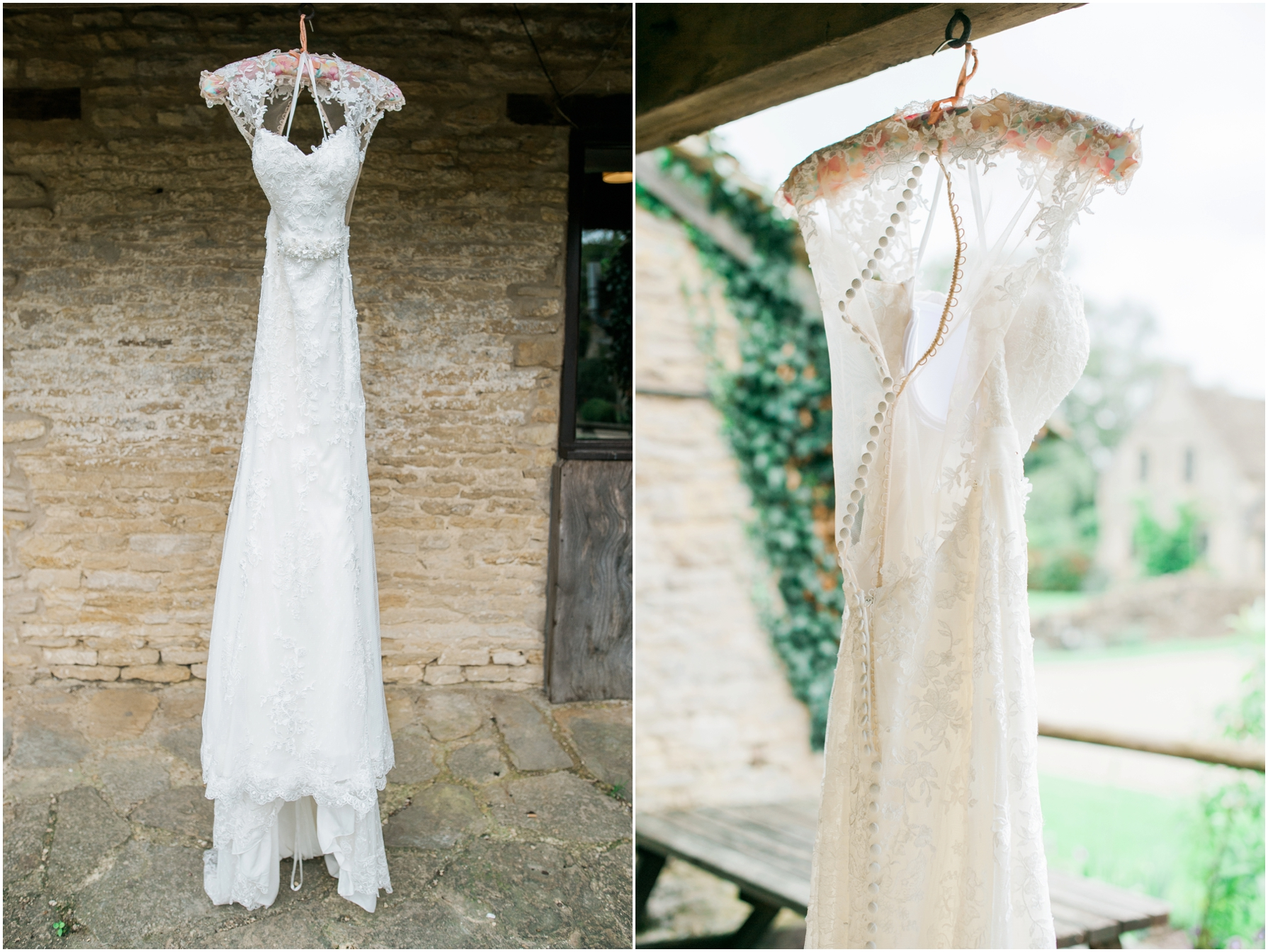 All about Eve bridal lace back dress hanging up outside the bridal suite at the great tythe barn