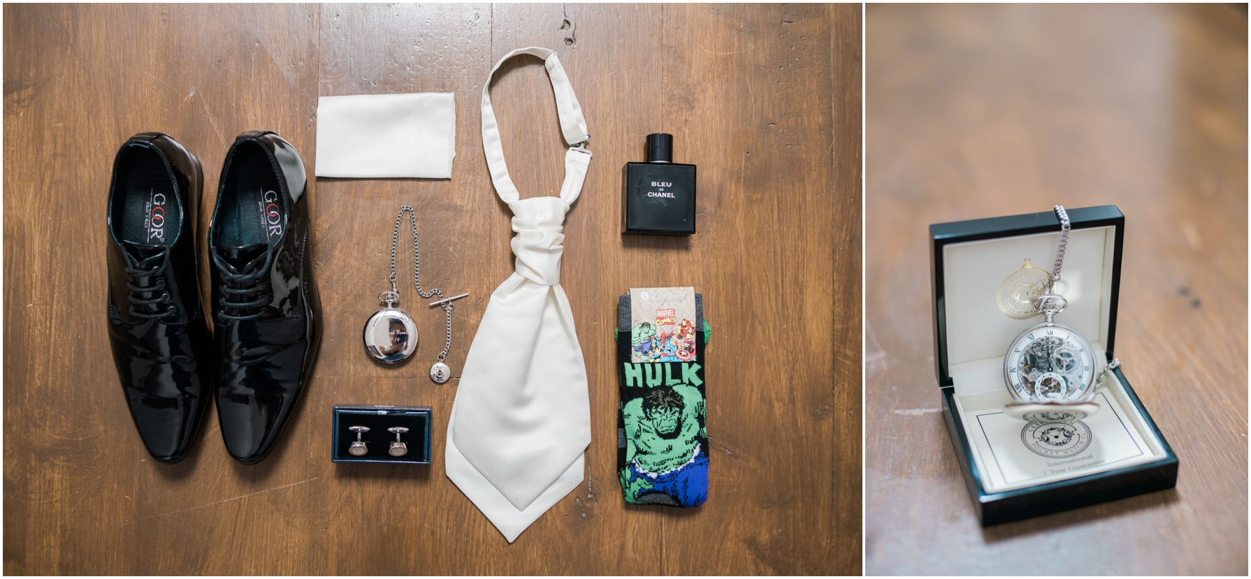 flatlay image of the grooms shoes and accessories