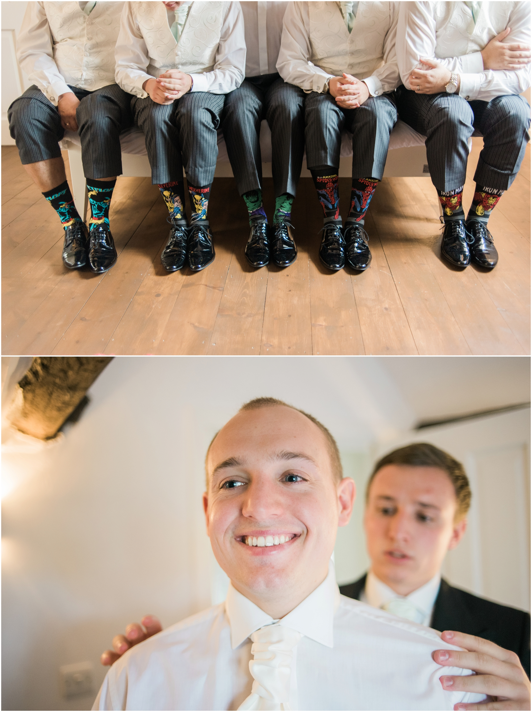 groomsmen sitting on bed in a row showing their socks