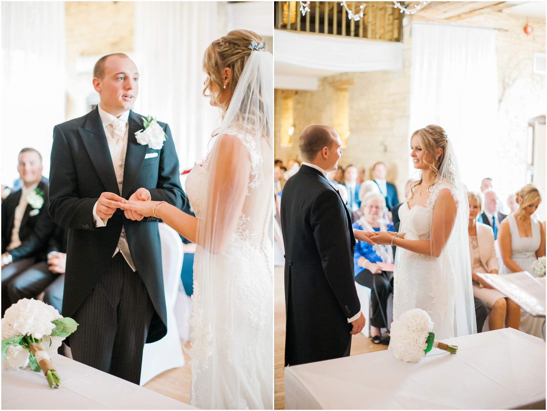 bride and groom exchanging rings at the great tythe barn