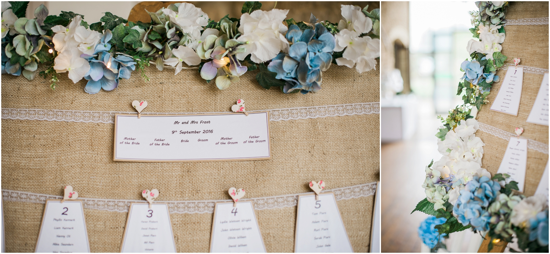 rustic style table seat planner with white and blue hydrangeas