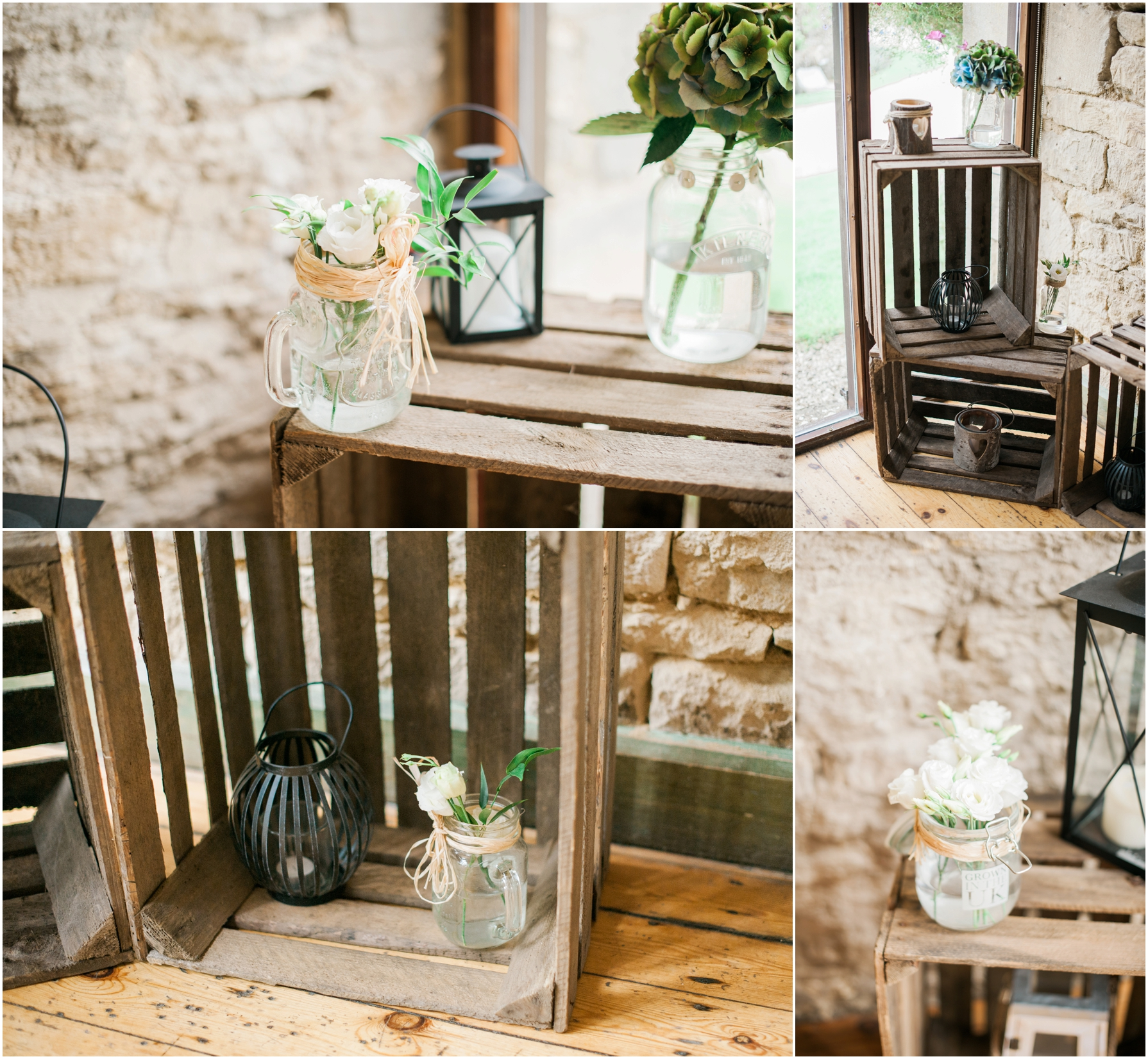 rustic wooden crates filled with flowers in glass jars