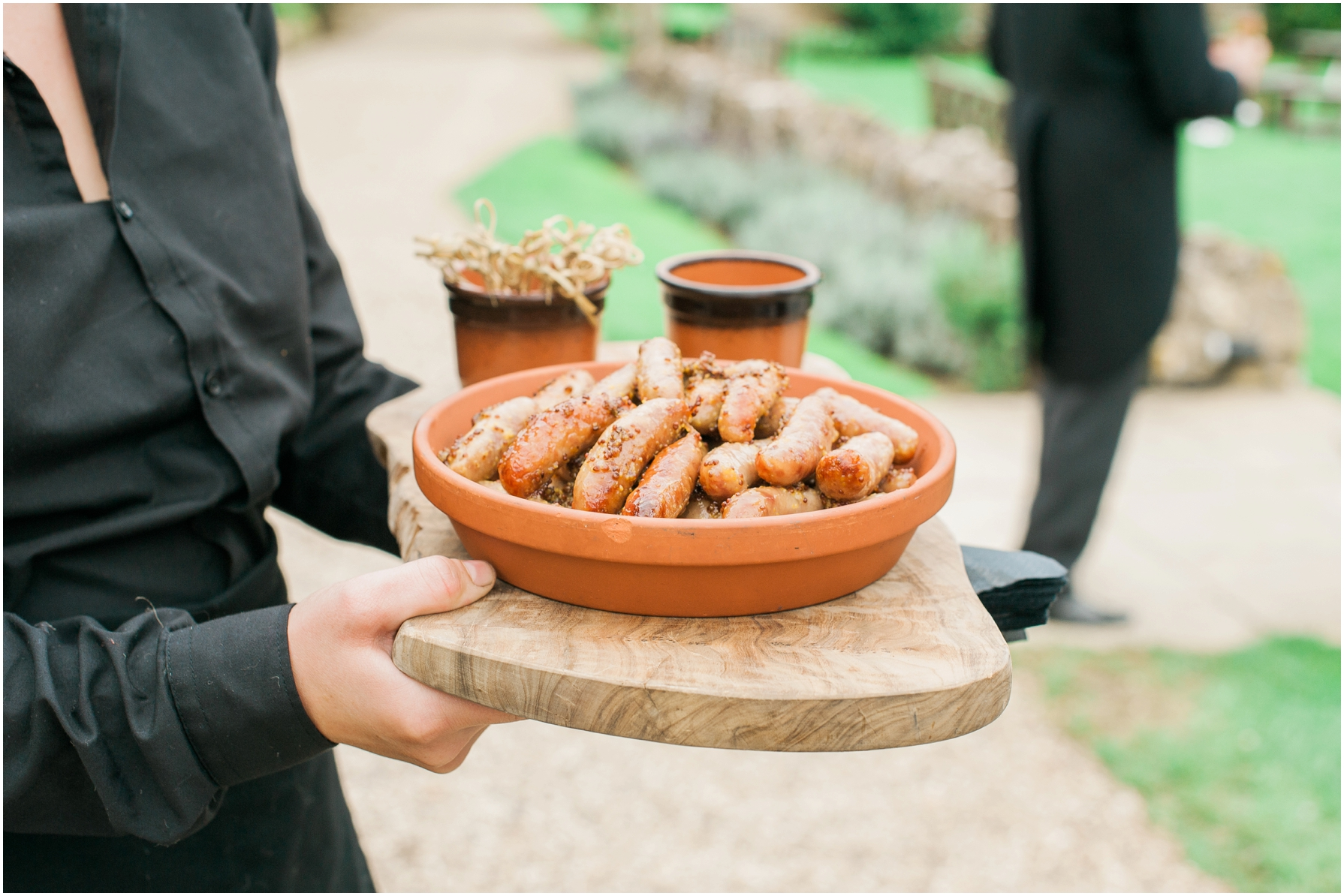 sausage canapes and mustard dip