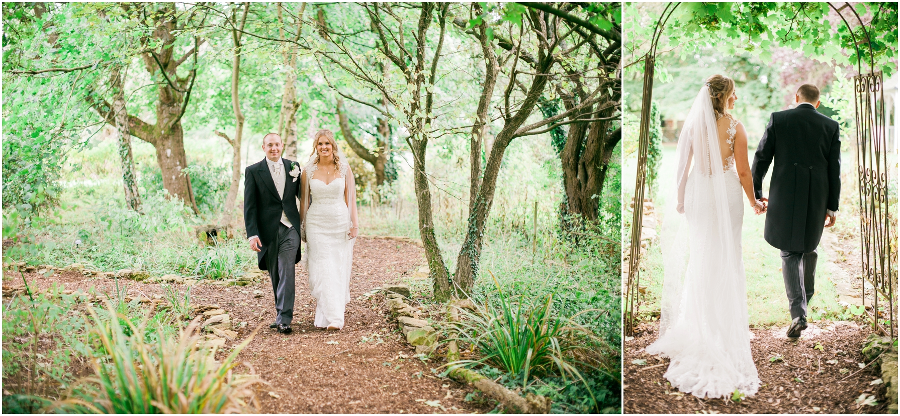 bride and groom walking through a woodland area