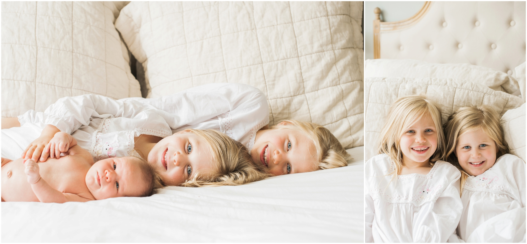 two little girls and their baby sister lying on the bed together