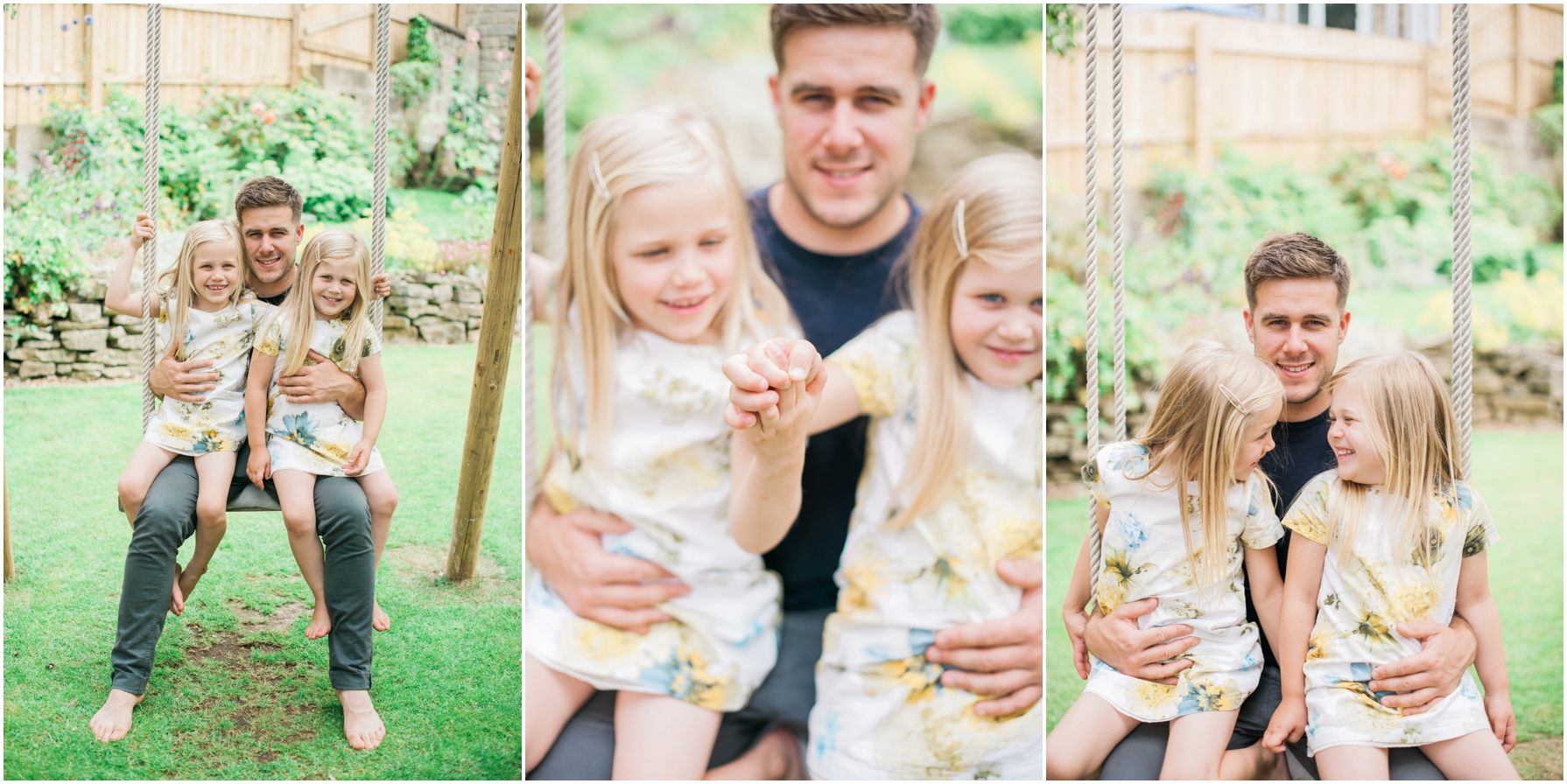 two girls and their dad sitting on a wooden swing