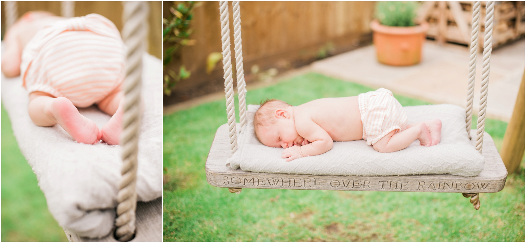 a newborn baby sleeping on a wooden swing