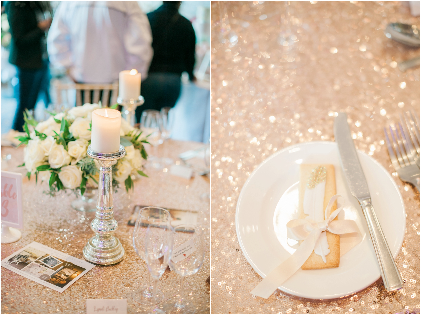 white and gold themed wedding tables with sparkly table cloth
