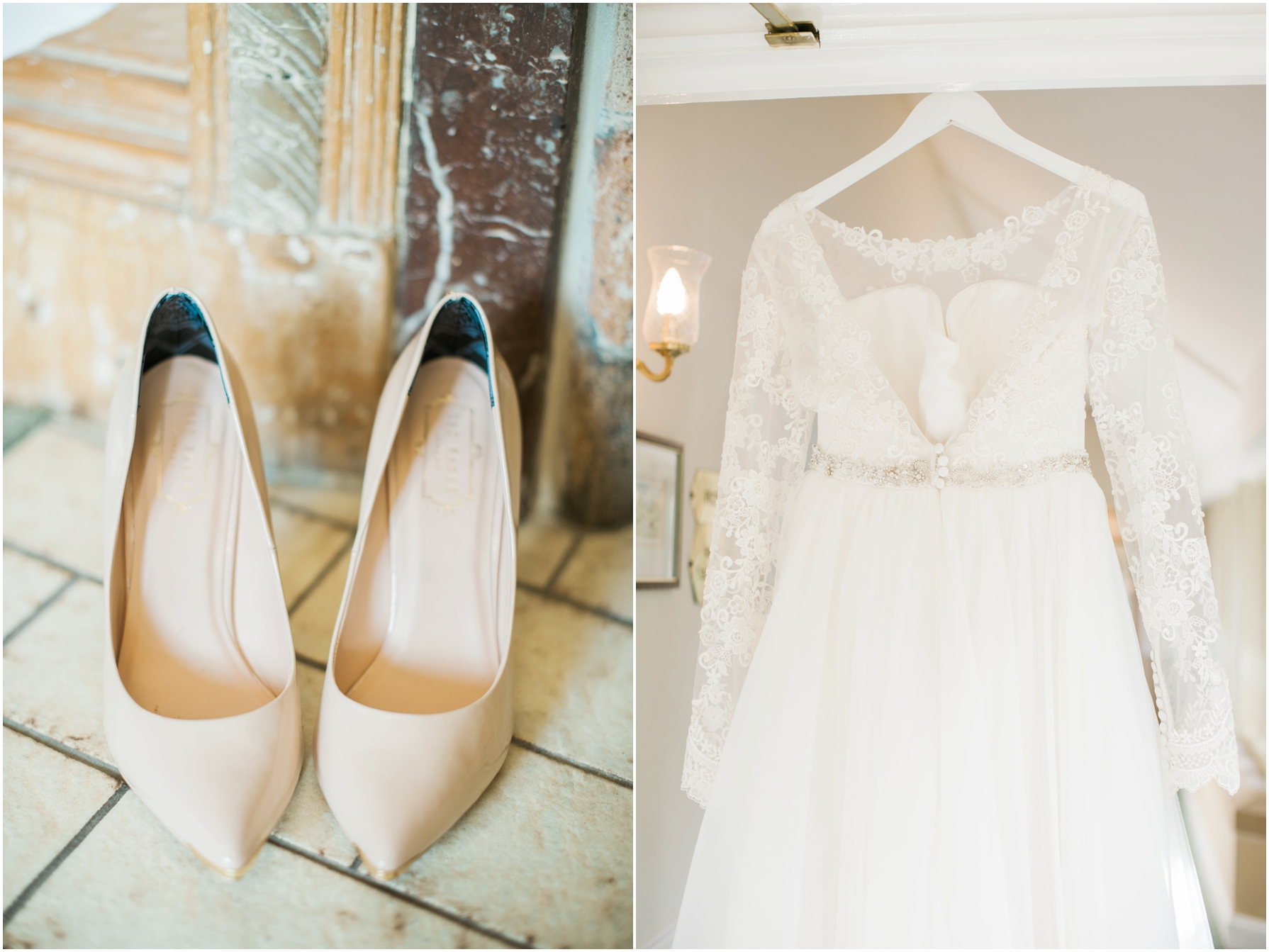 pale pink wedding shoes and a vintage wedding dress