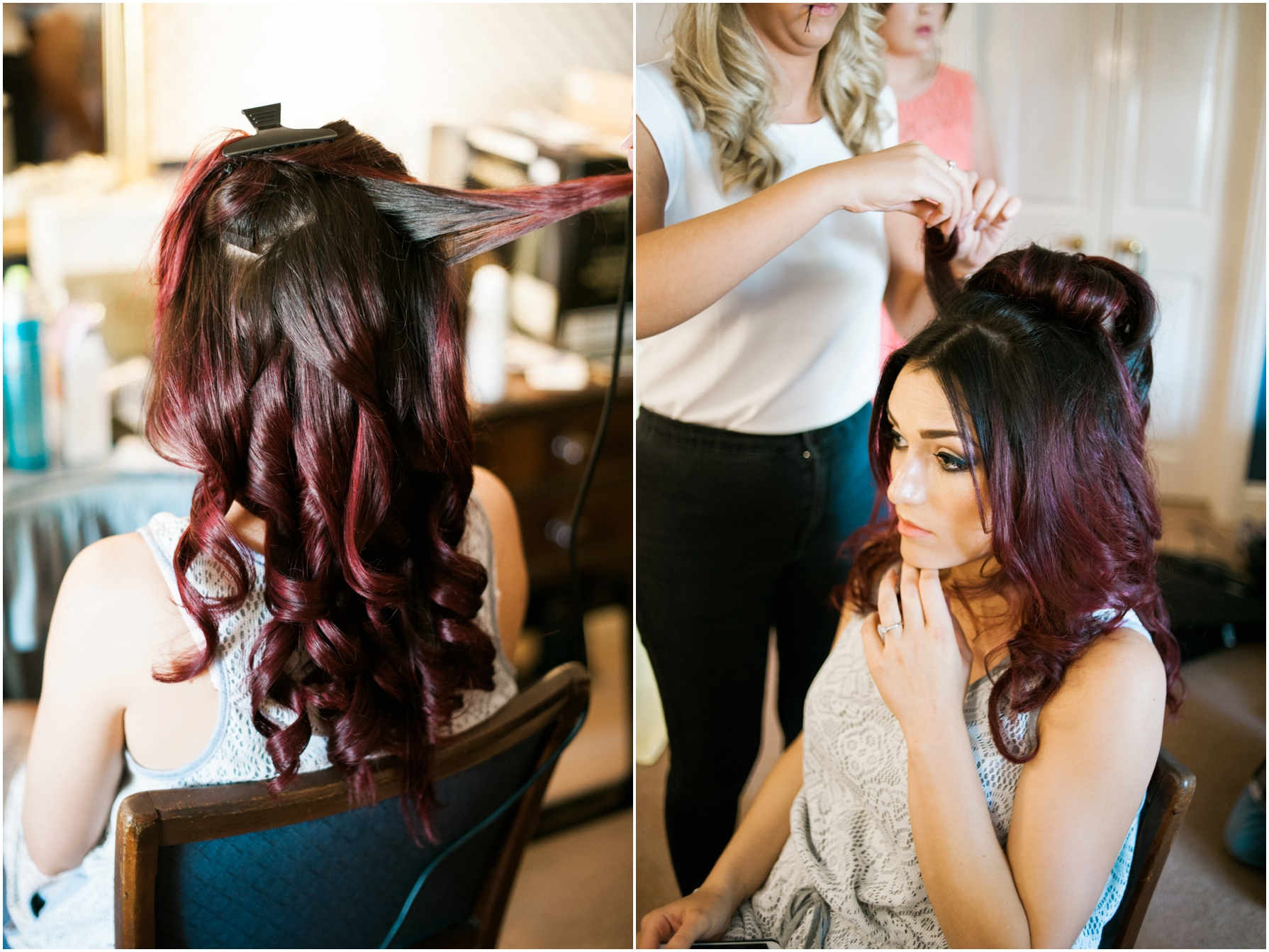 bride having her red hair curled