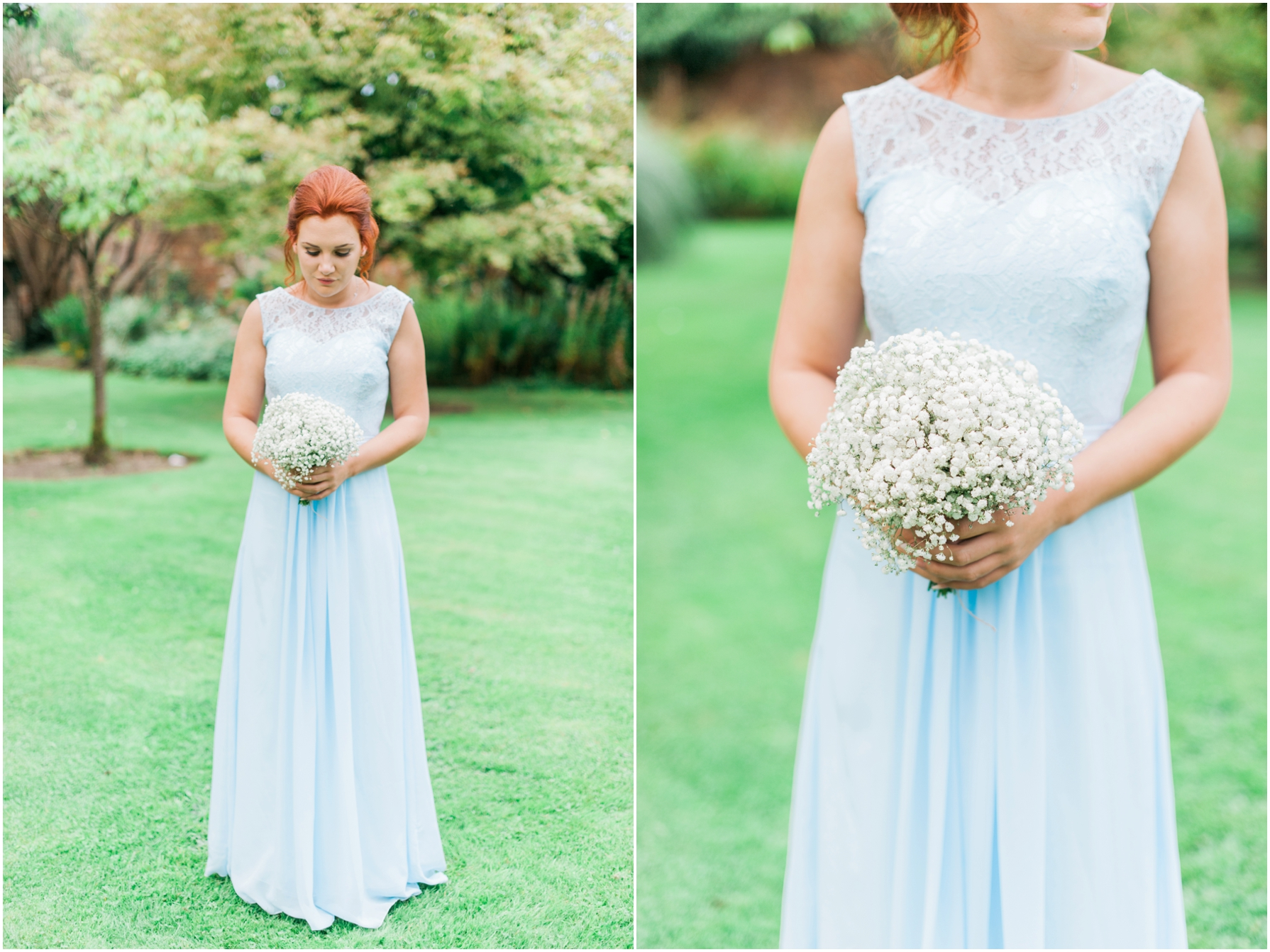 red haired bridesmaid holding a white bouquet wearing a pale blue dress
