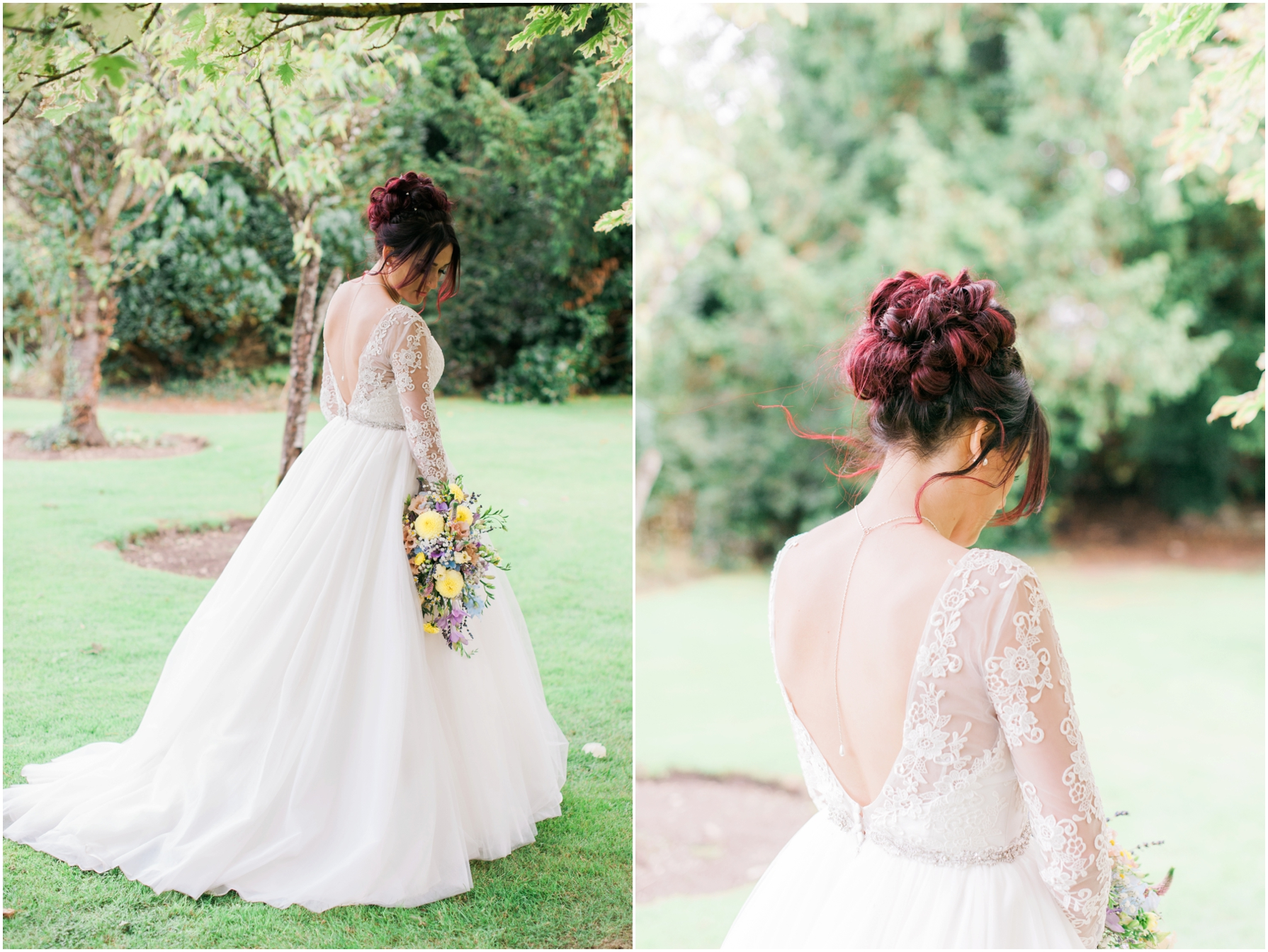 bride showing the back of her vintage lace wedding dress