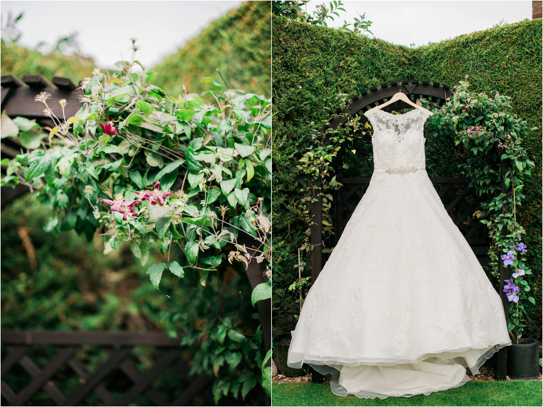 bridal gown hanging in a garden
