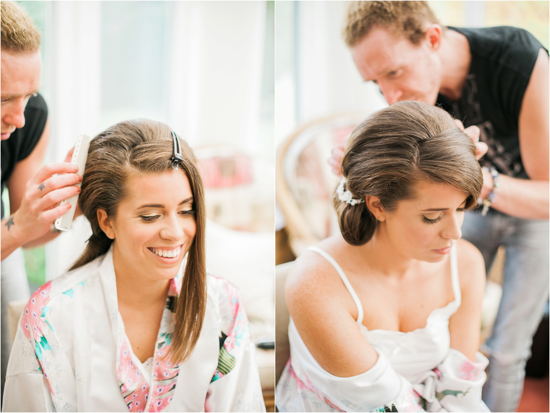 bride having her hair done during bridal prep