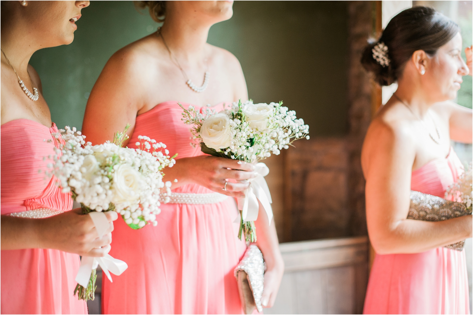 bridesmaids waiting in the church for bride to arrive