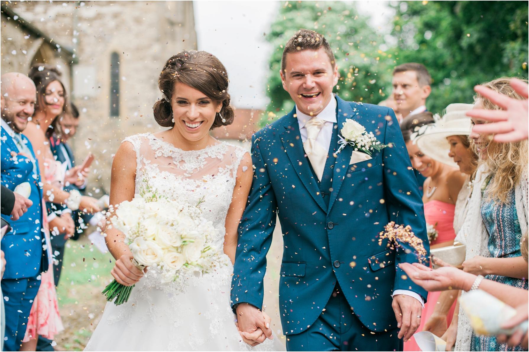 bride and groom confetti shots