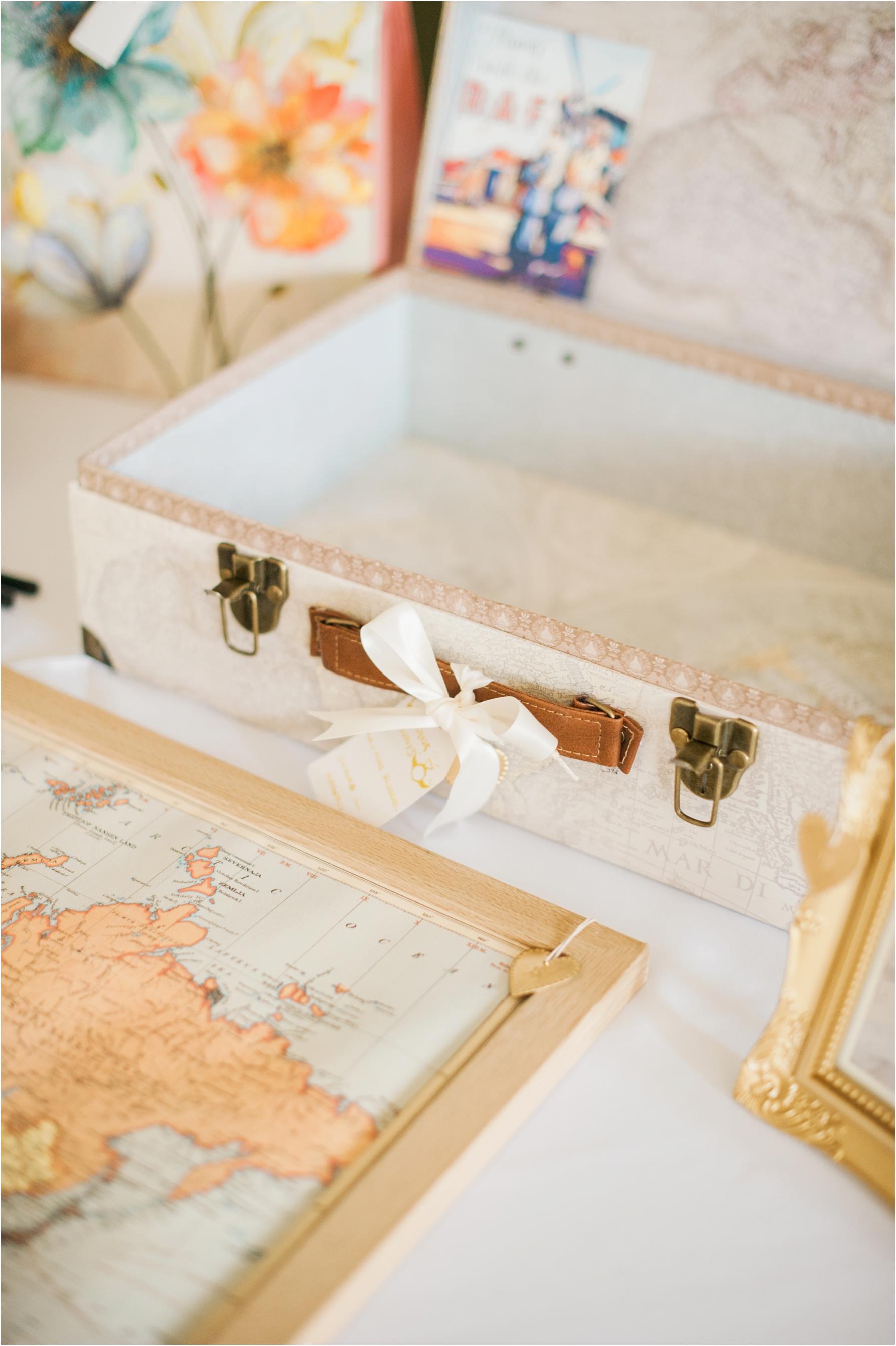 travel inspired wedding details