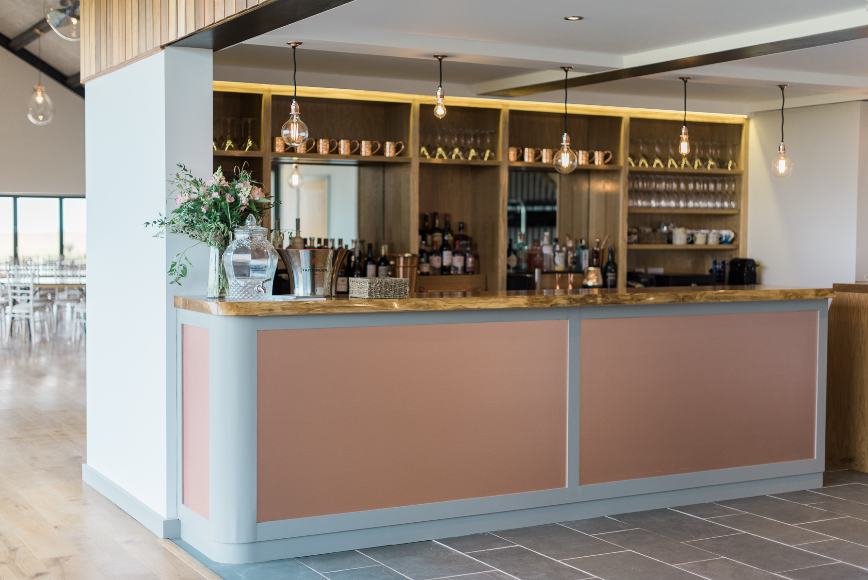 modern looking bar at casterley barn in pewsey