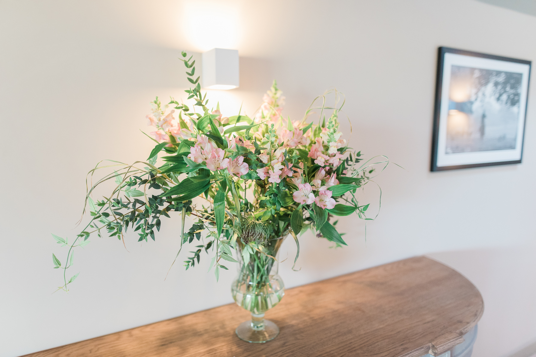 flowers in the mezzanine room at casterley barn