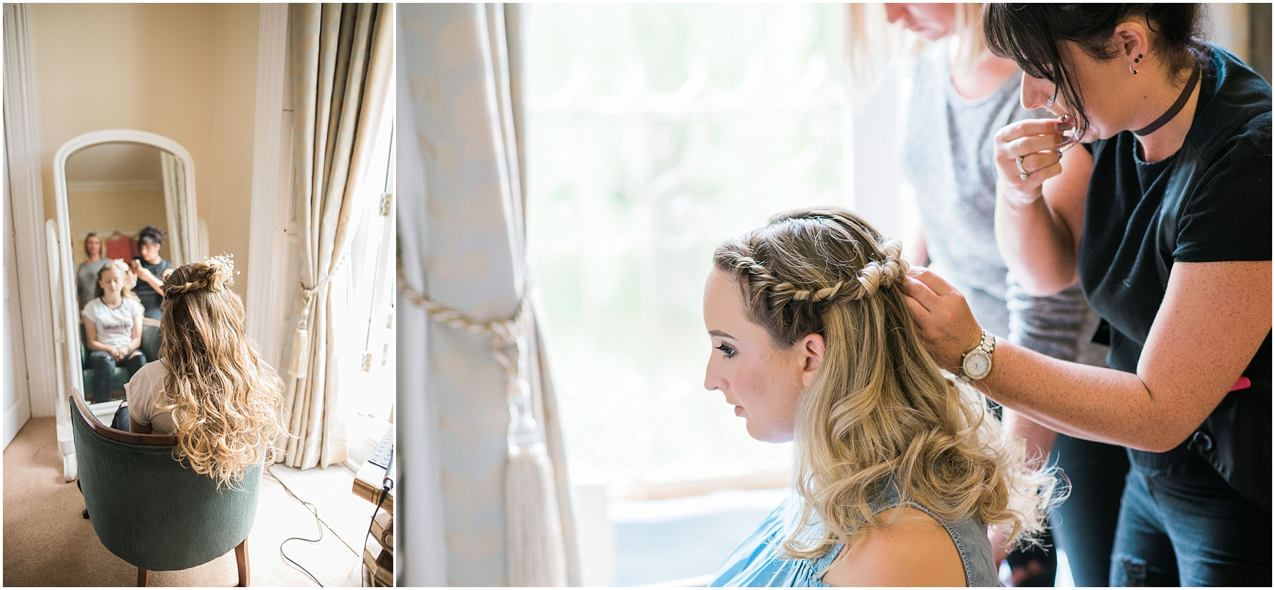 bridesmaid having her hair done at chiseldon house hotel