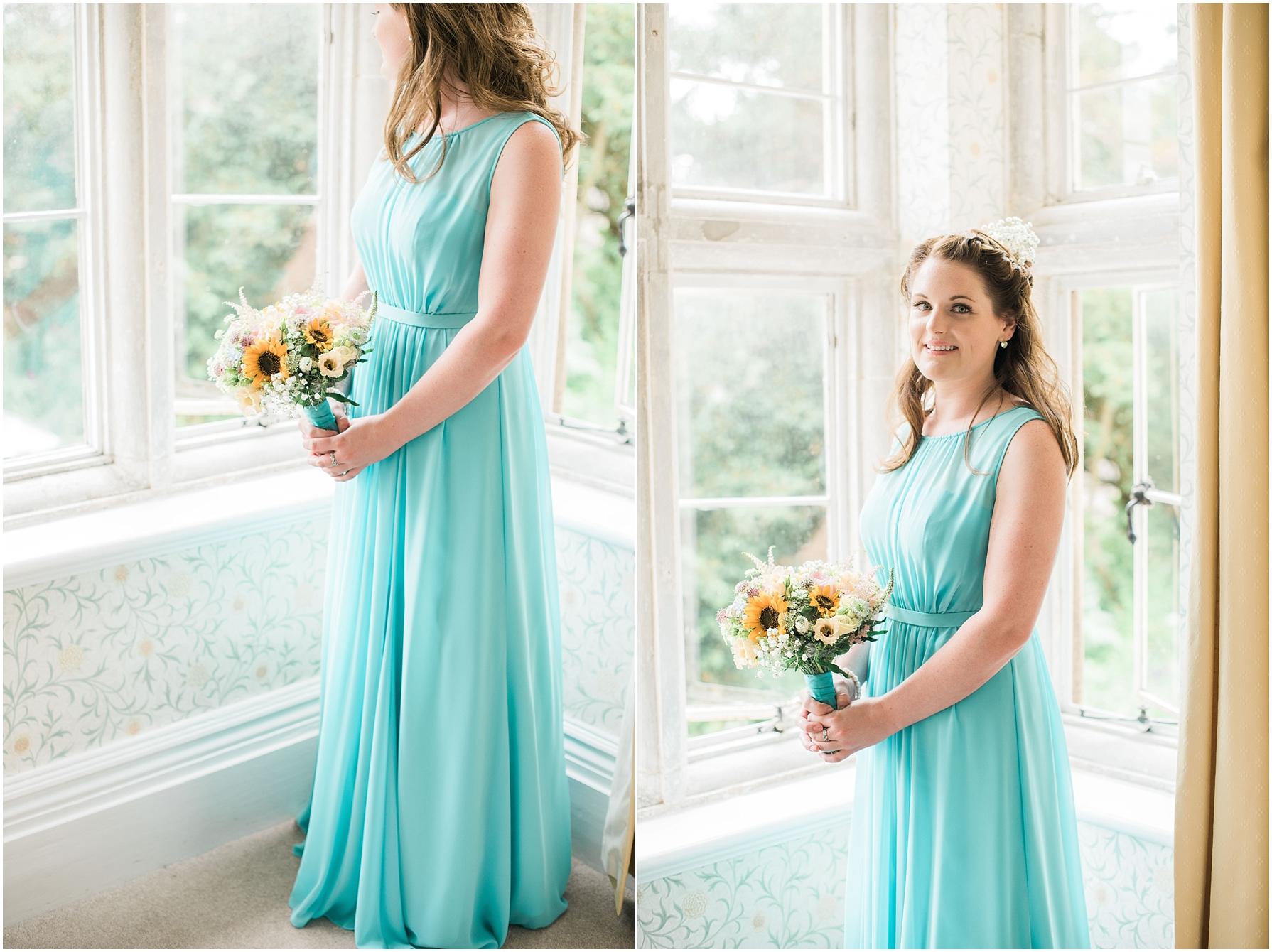 bridesmaid wearing a pastel green dress