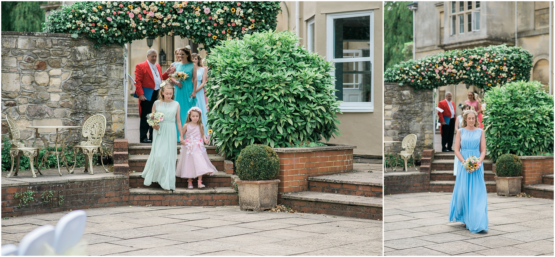 bridesmaids walking through the archway to outside ceremony at chiseldon house hotel