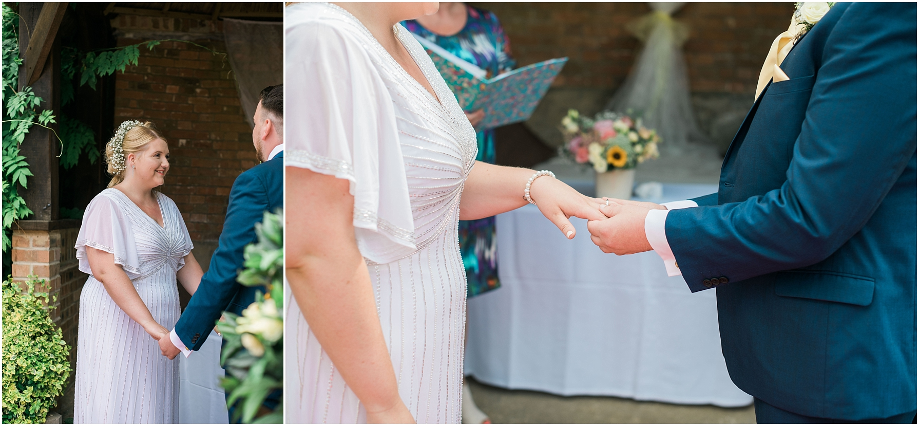 bride and groom exchanging rings in an outdoor ceremony at chiseldon house hotel