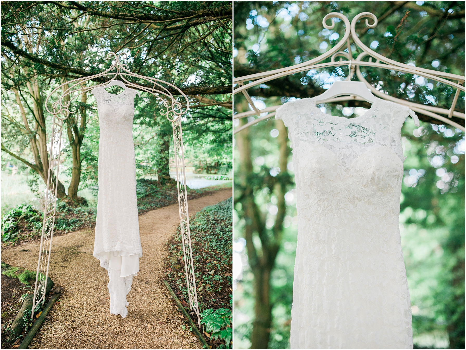 vintage wedding dress hanging from metal archway at manor by the lake
