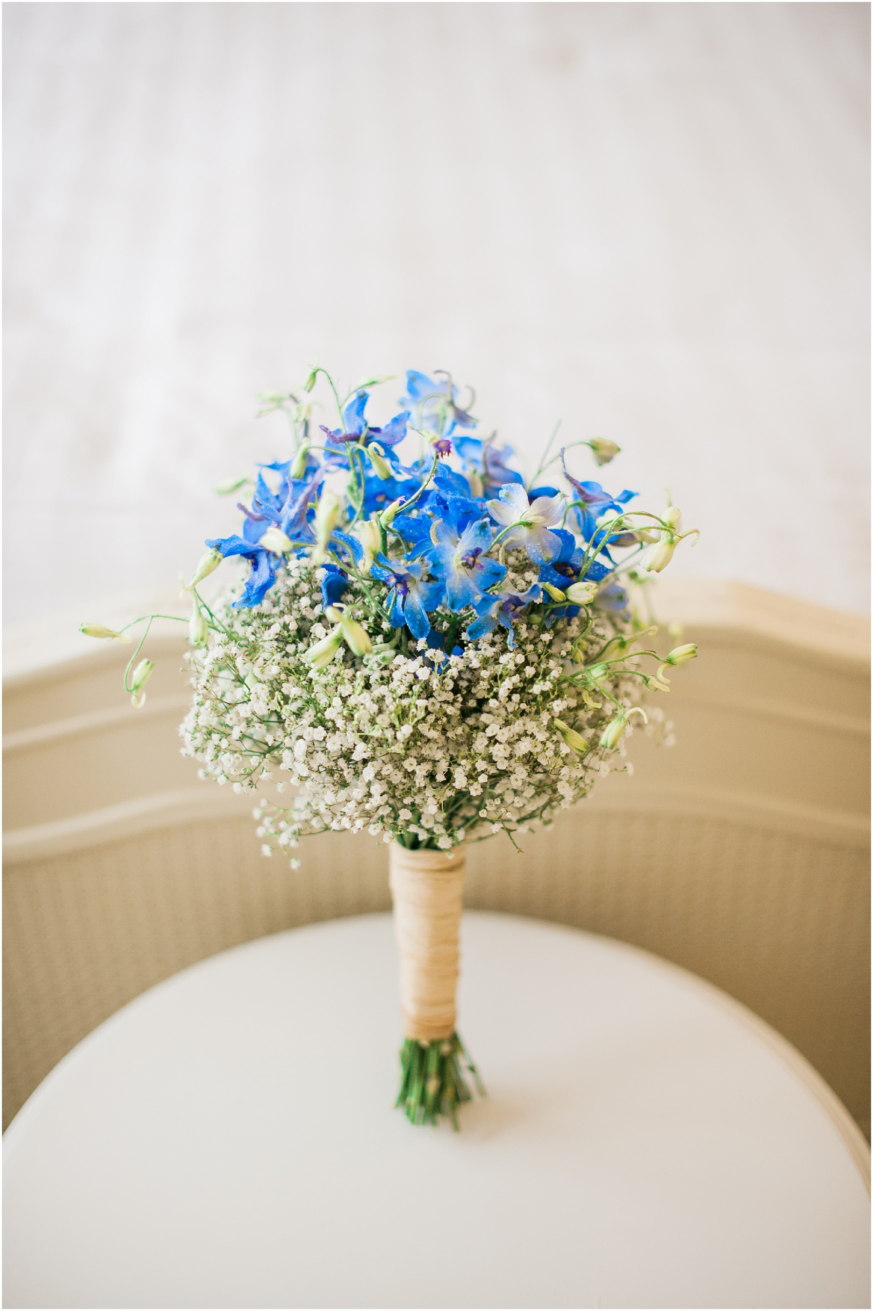 gypsophila bouquet on a white table