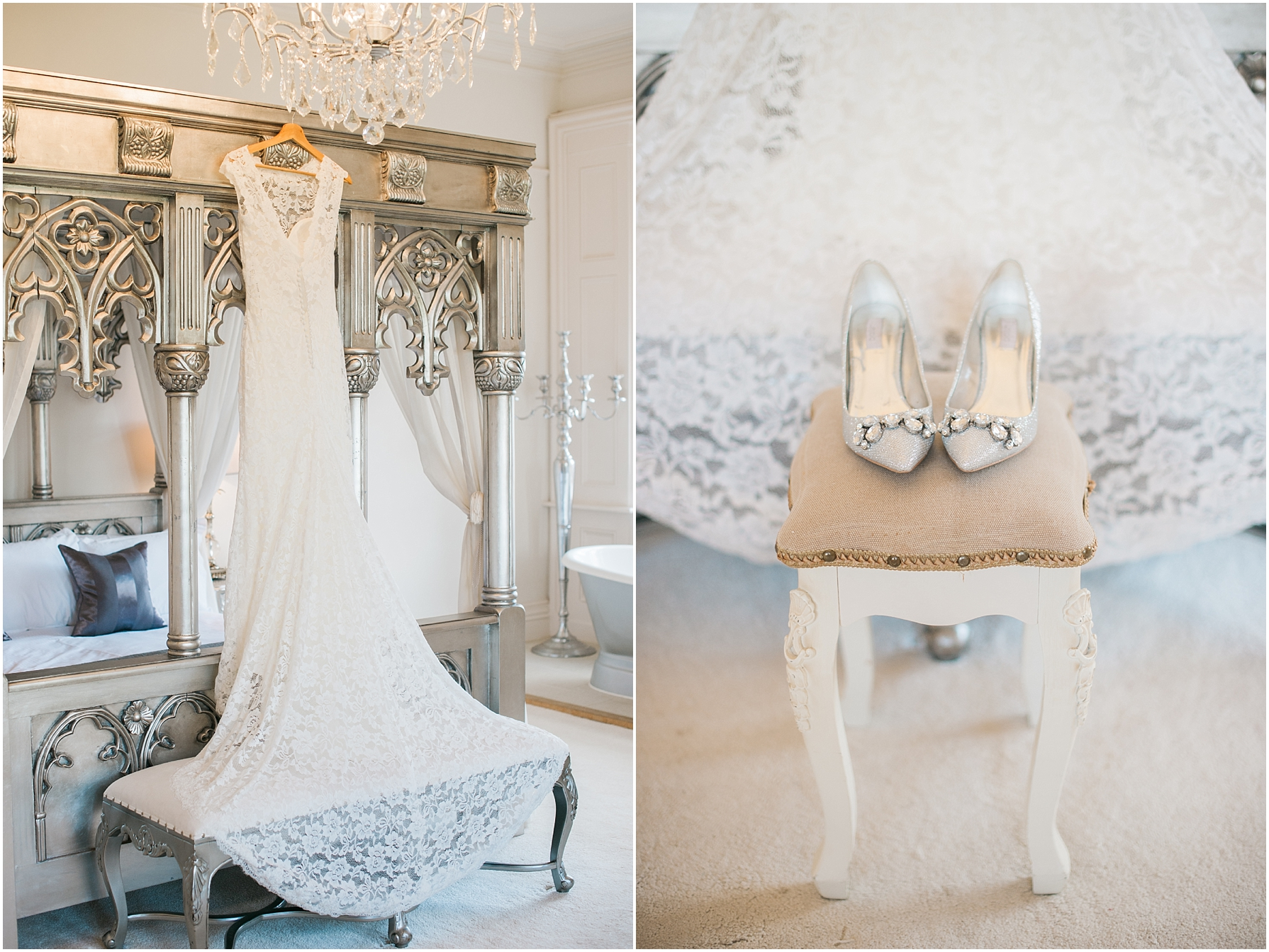 vintage wedding dress hanging from 4 poster bed
