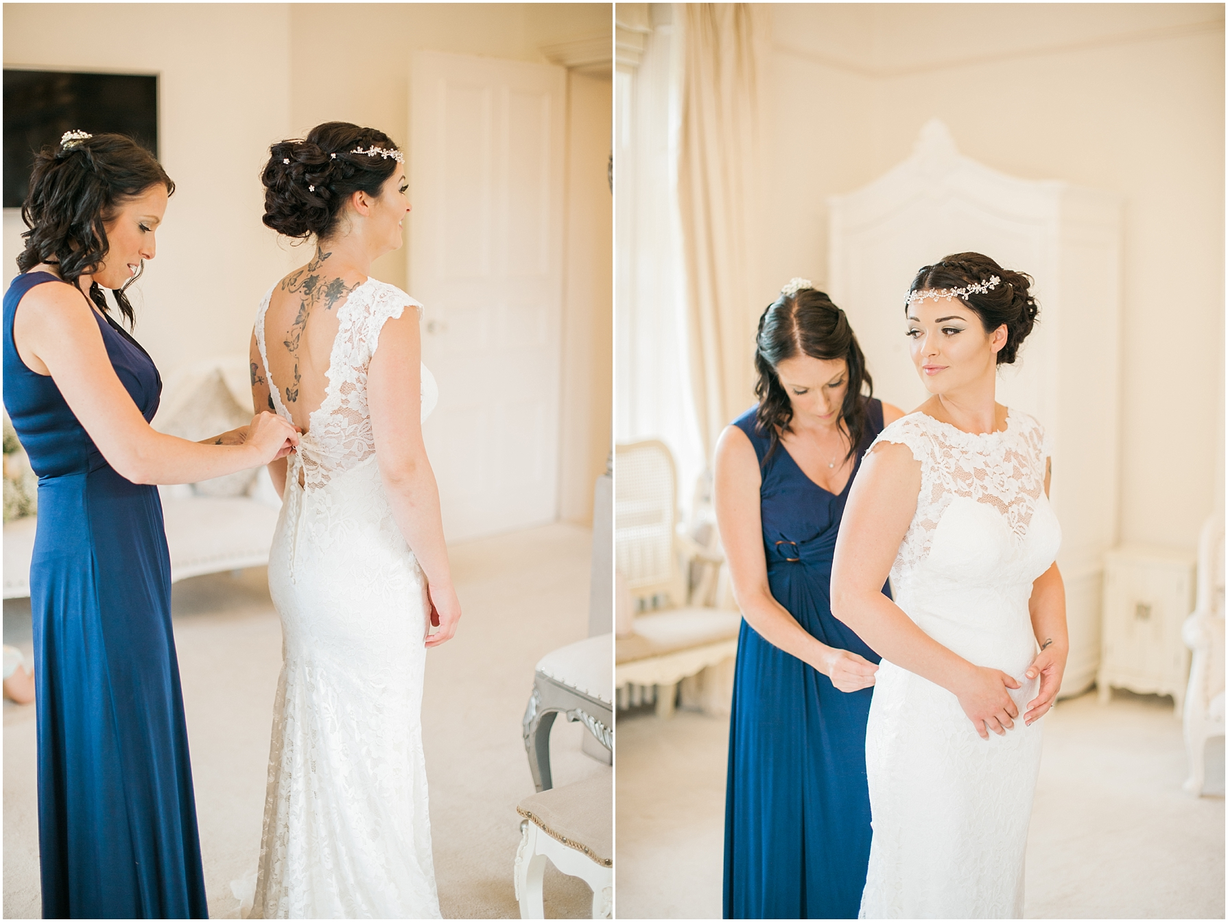 bride having her dress done up by her bridesmaid