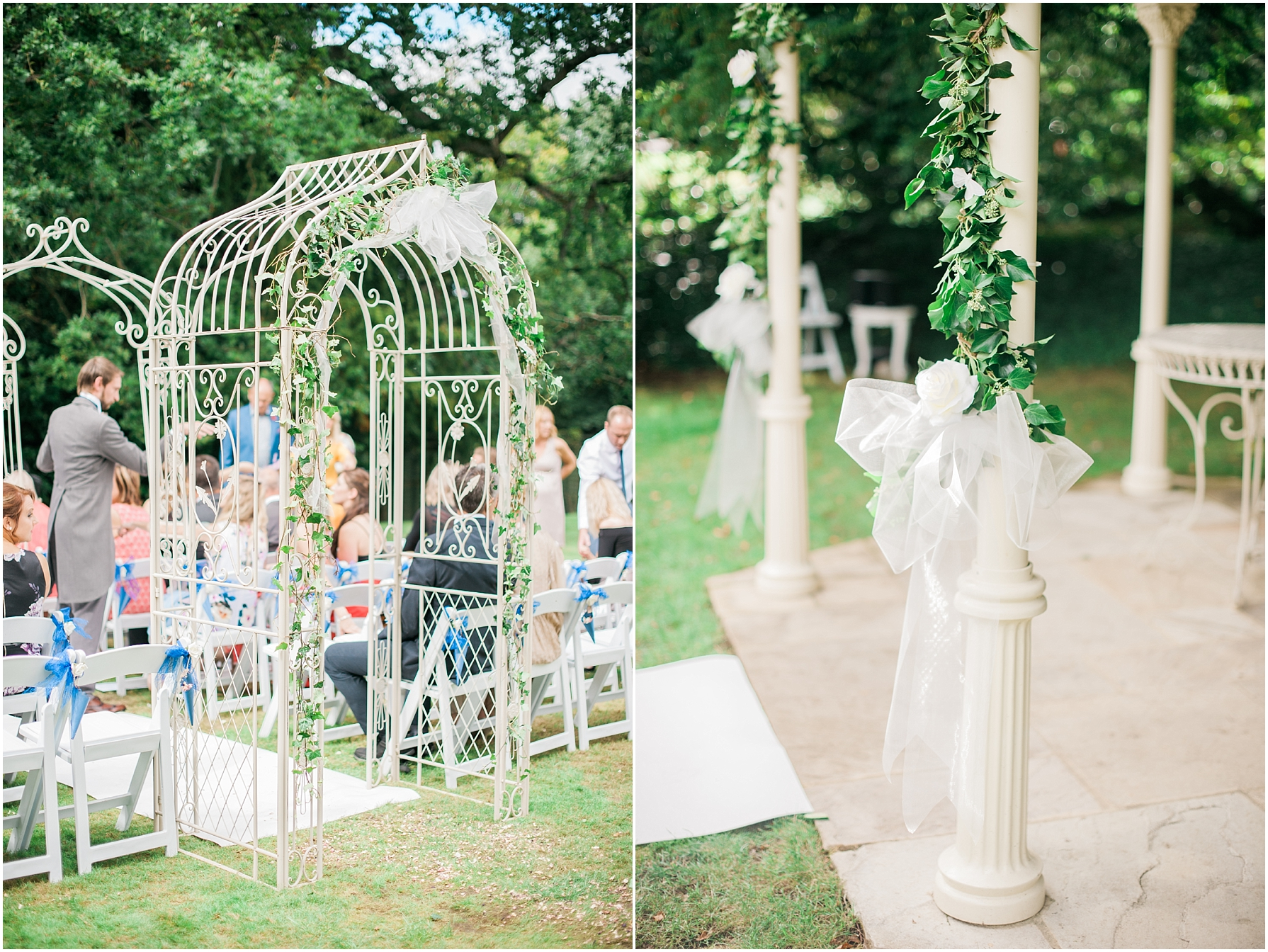 metal archway leading to wedding ceremony at manor by the lake