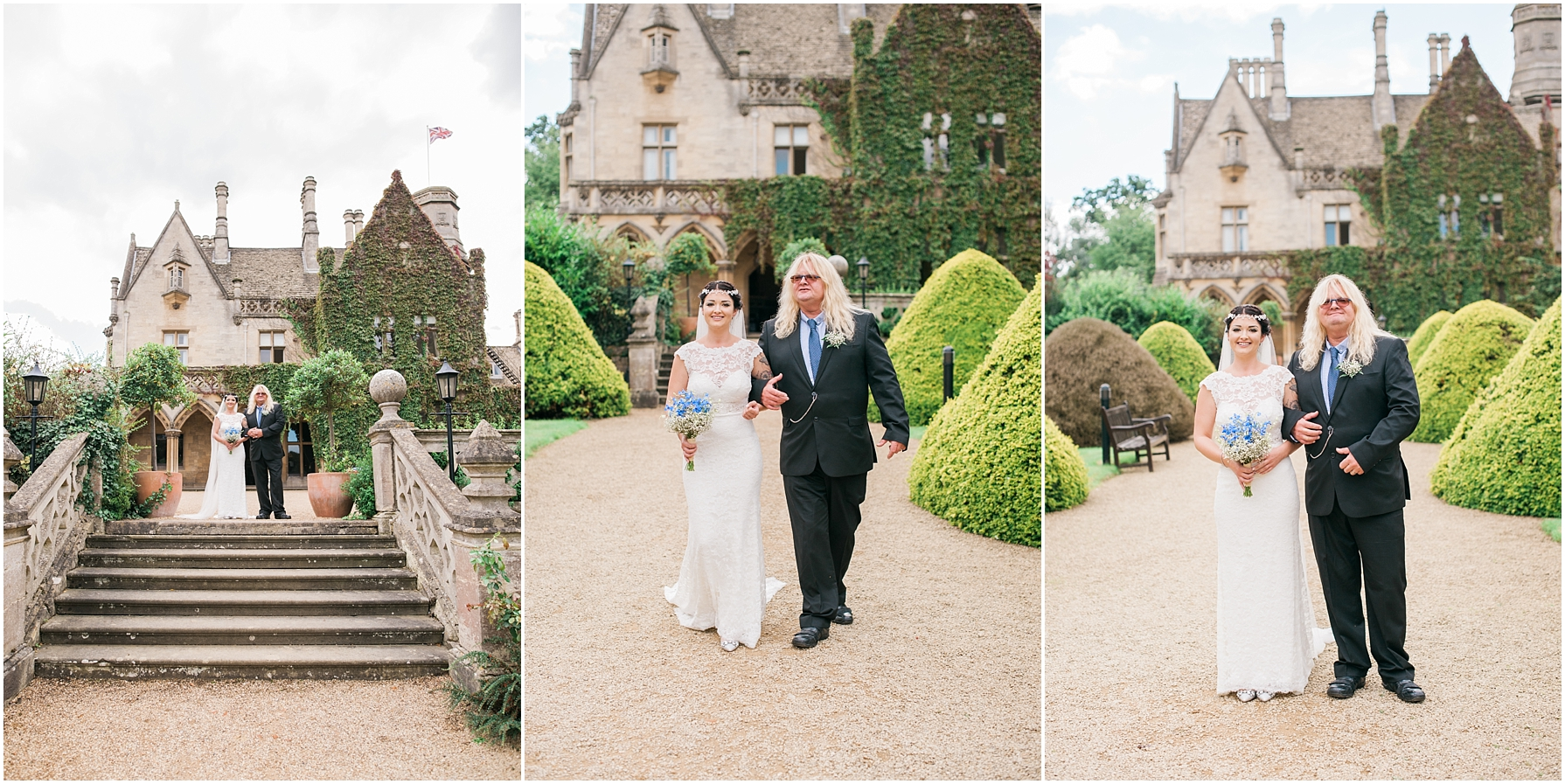 bride and her father walking towards ceremony at manor by the lake
