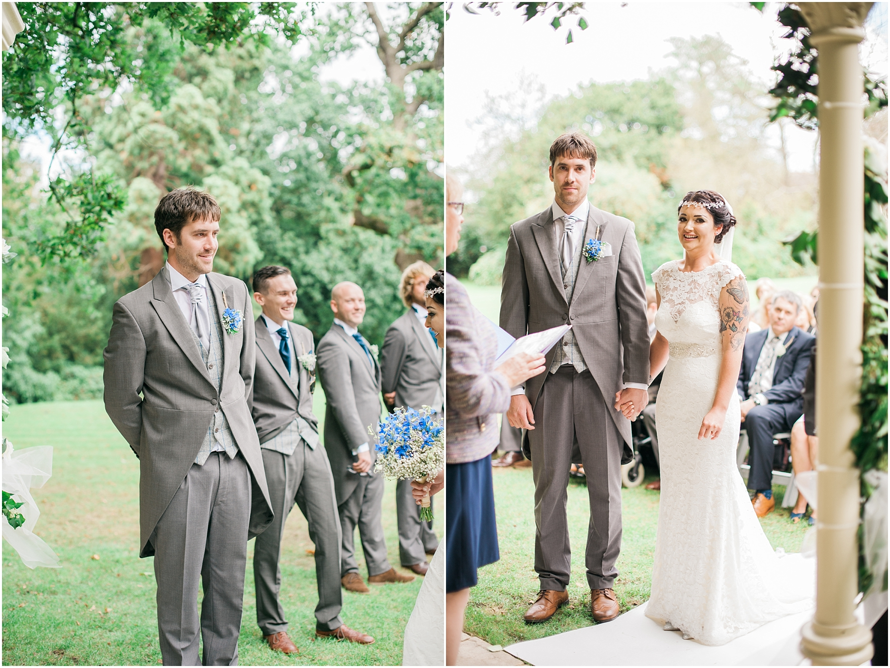 bride and groom standing at the alter at an outdoor ceremony