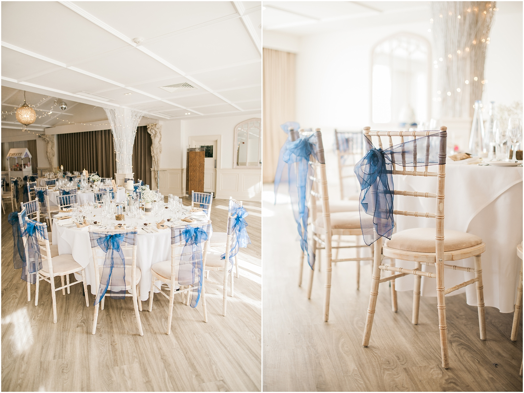 rustic wedding breakfast chairs with navy blue tule