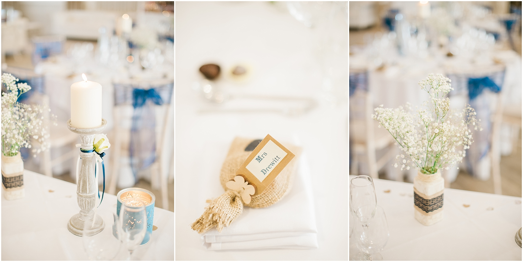 rustic and navy wedding favours