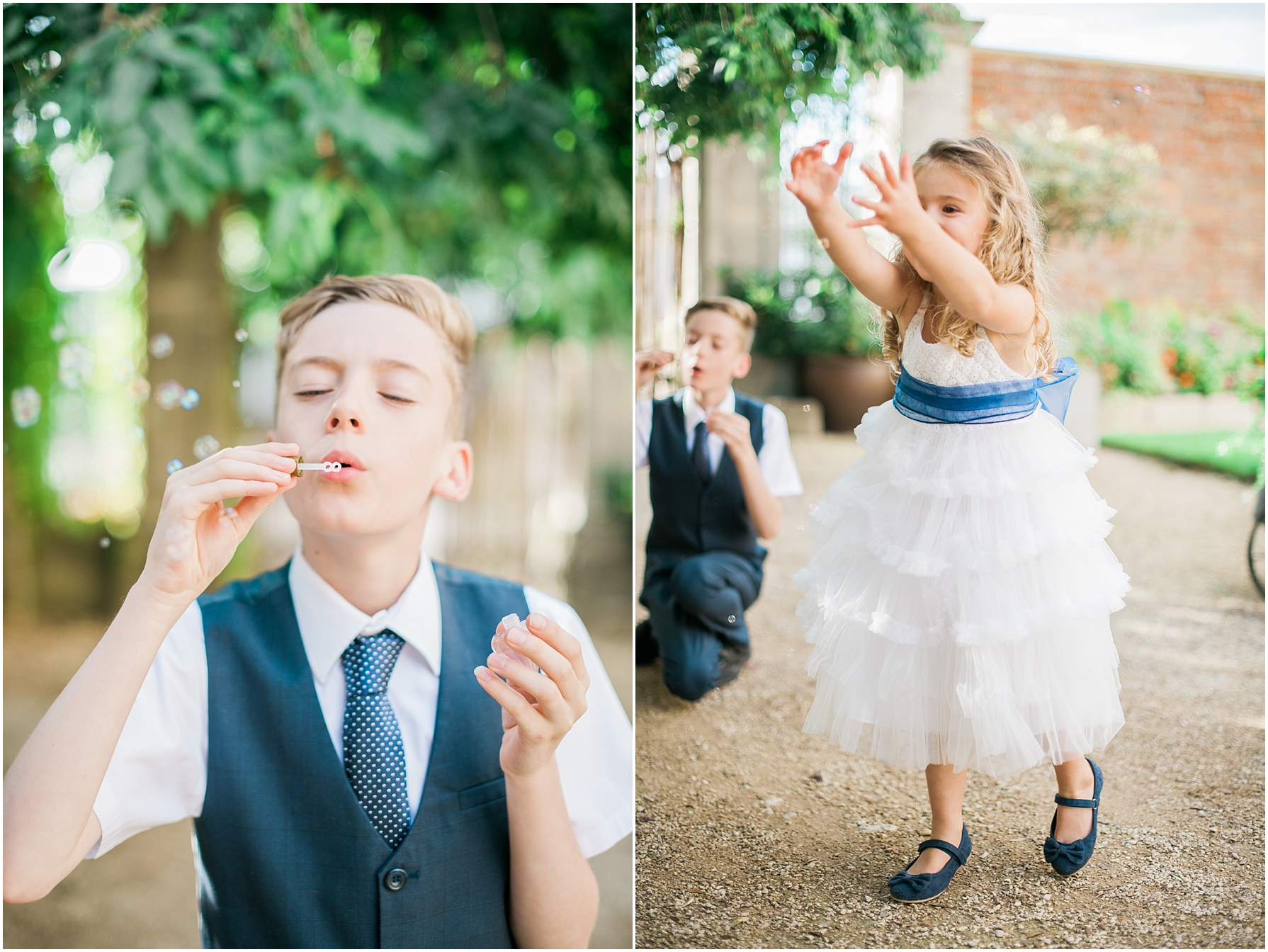 boy and girl blowing bubbles outside