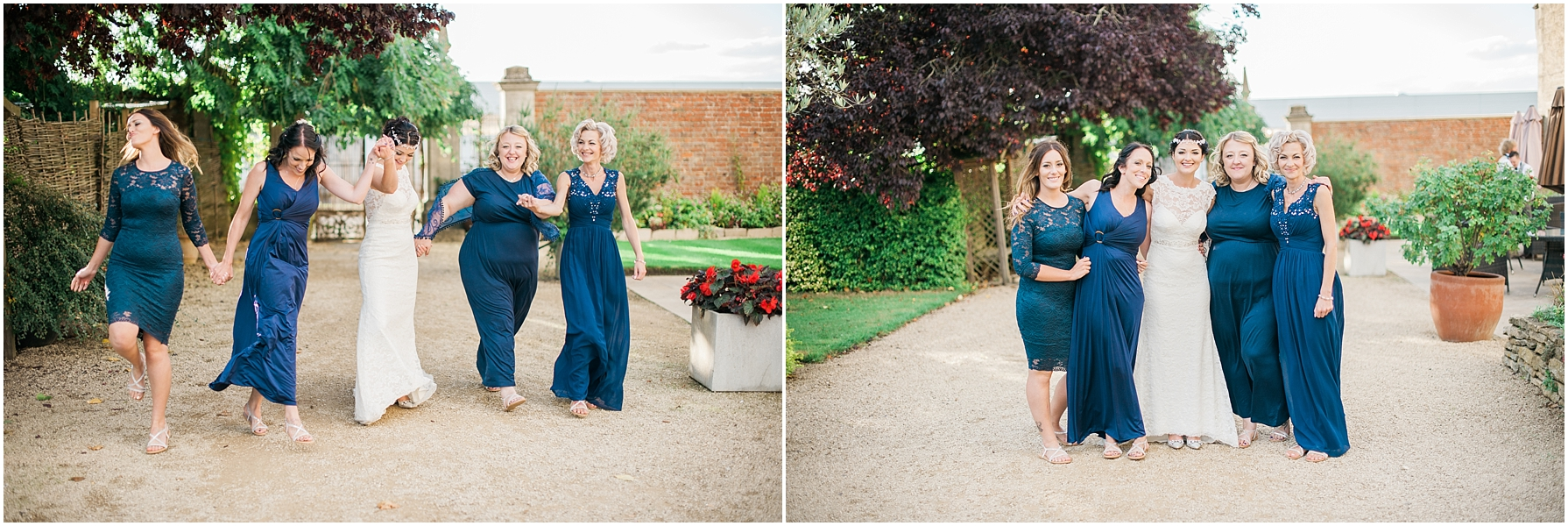 bride and bridesmaids walking hand in hand