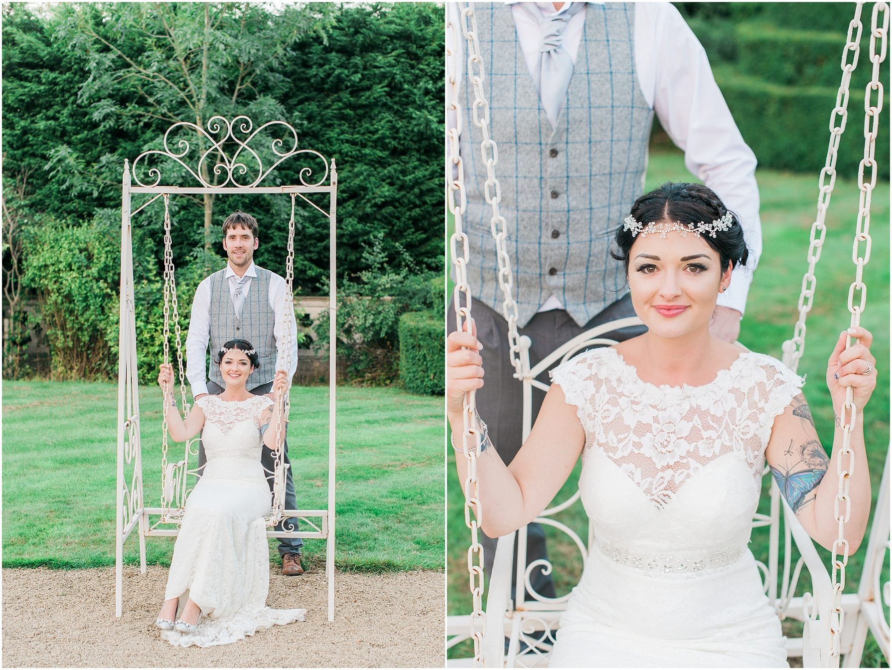 bride sitting on a swing and her groom standing behind her