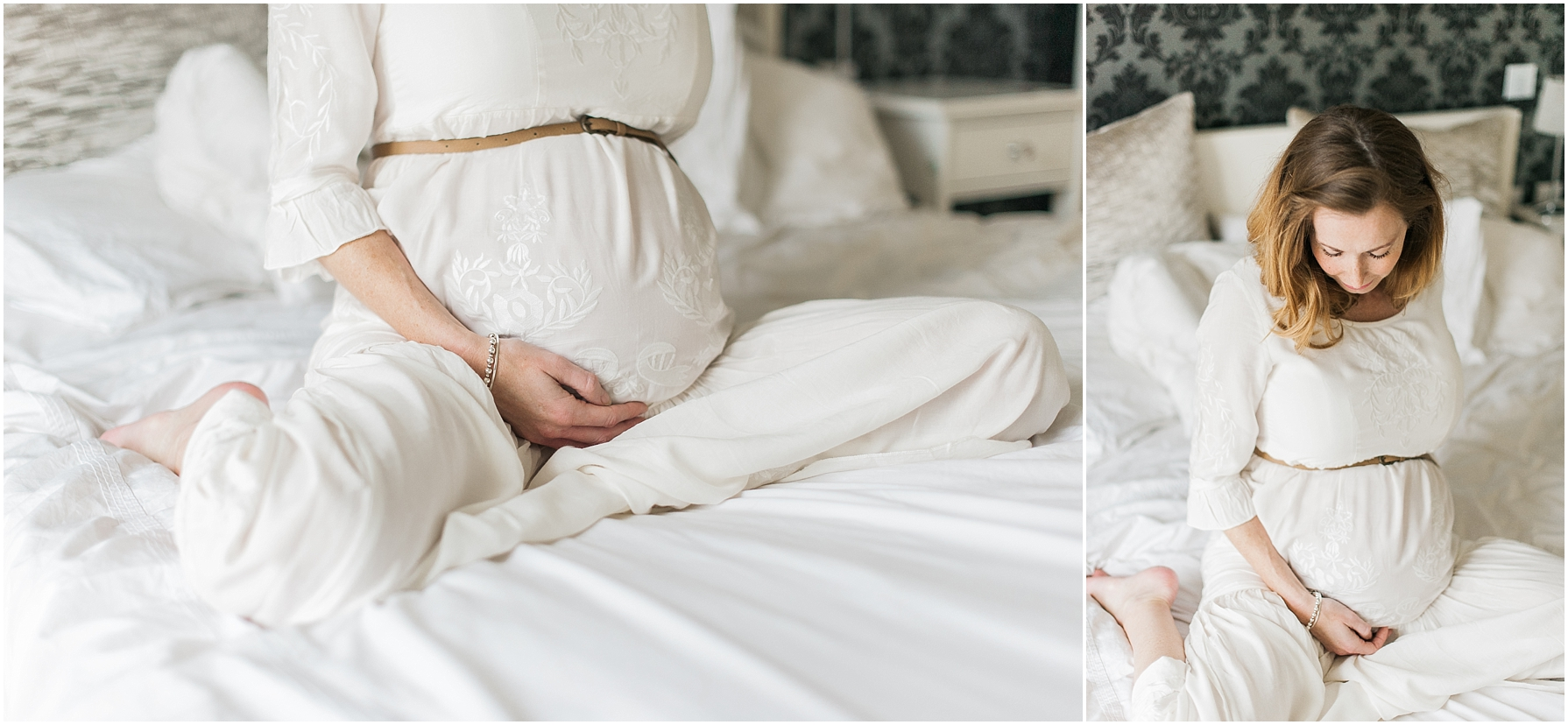 pregnant lady sitting on her bed wearing a long white dress