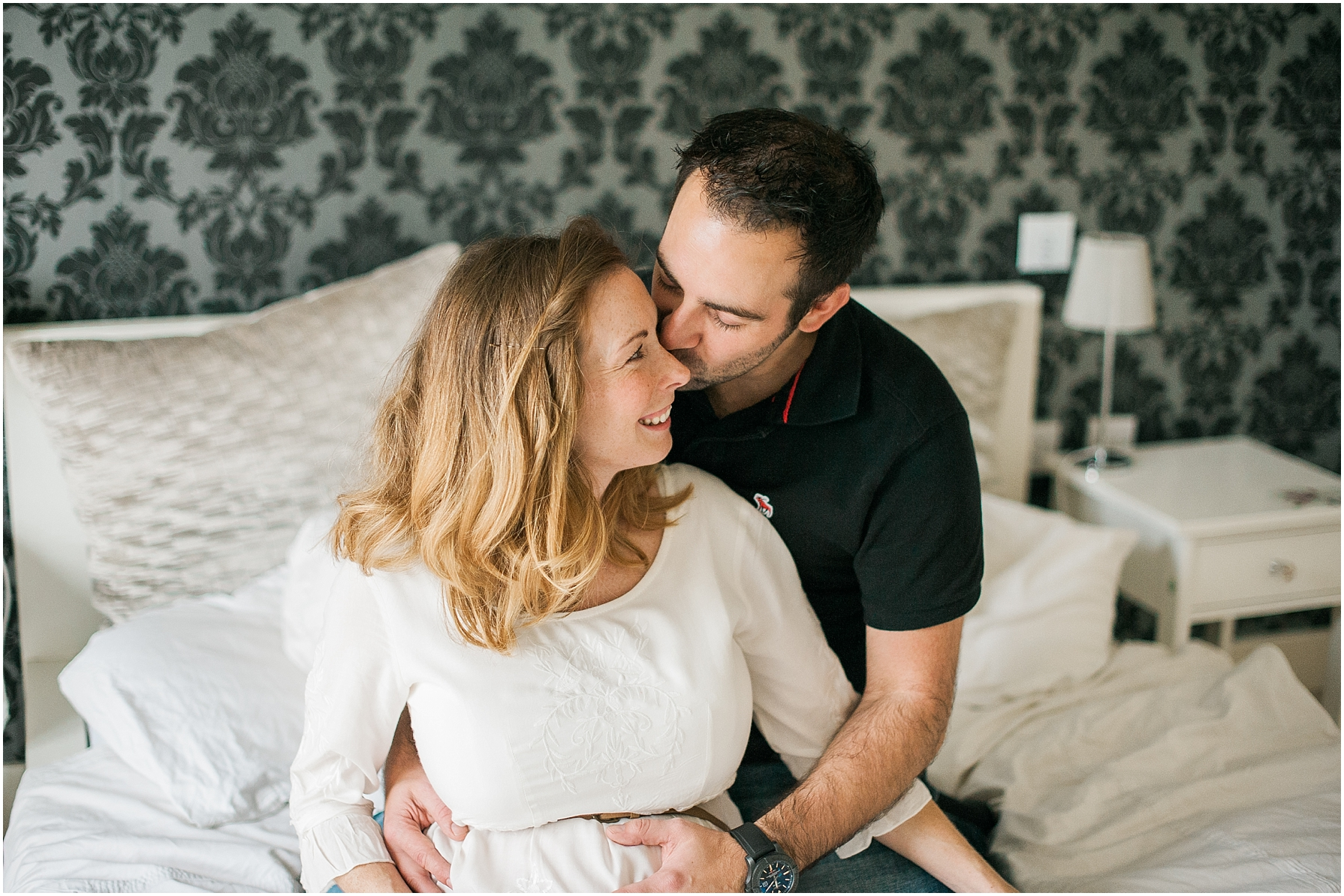 an indoor maternity photo shoot
