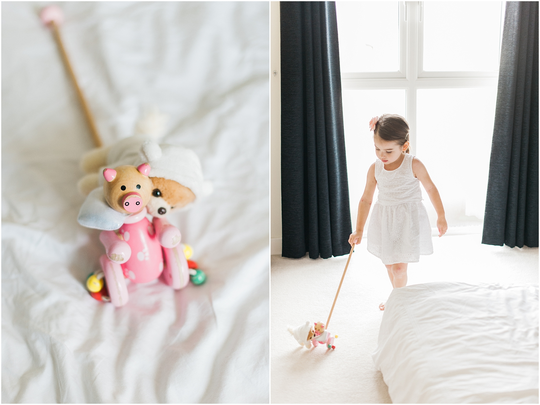 little girl playing with a toy in a white bedroom