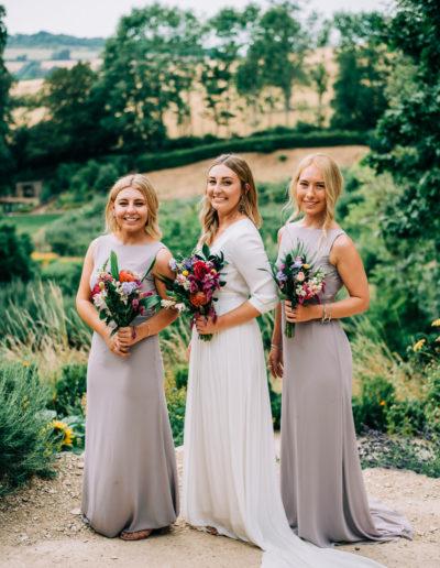 bride and bridesmaids at rococo garden