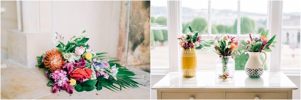 handmade bouquets sitting in vases bridal suite