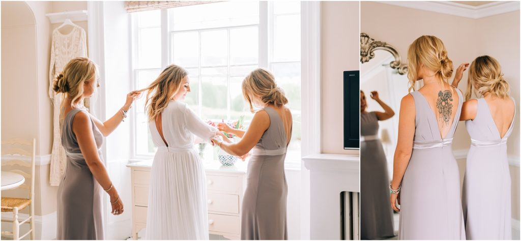bride and bridesmaids getting ready in painswick hotel