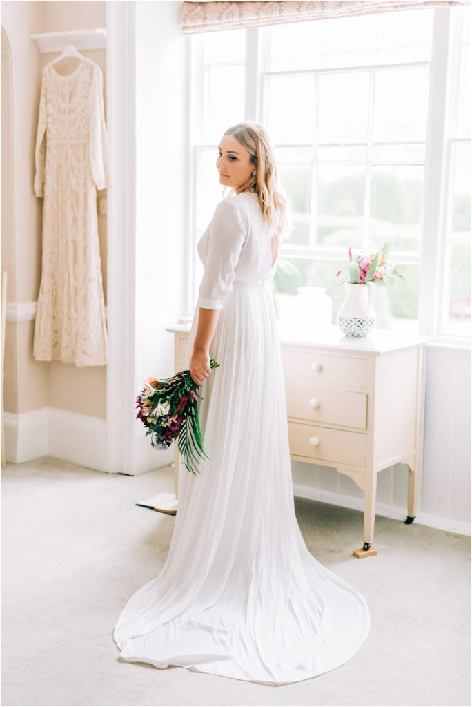 bridal portraits in the bridal suite at the painswick hotel
