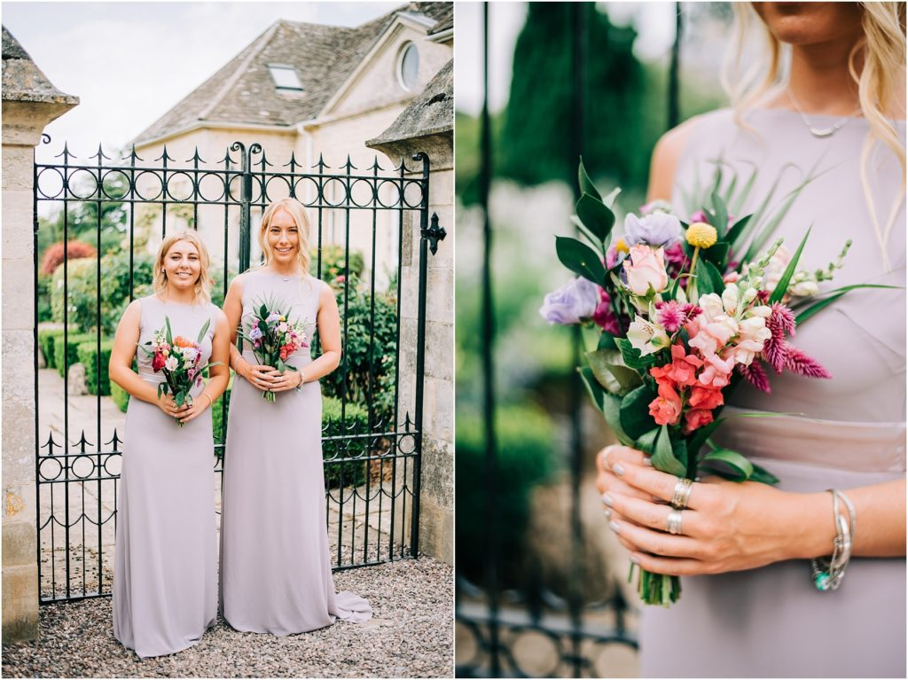 bridesmaids wearing pale lilac dresses and holding hand made colourful bouquets