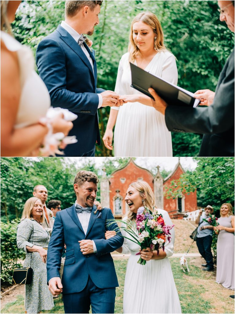 bride and groom confetti shot at painswick rococo garden