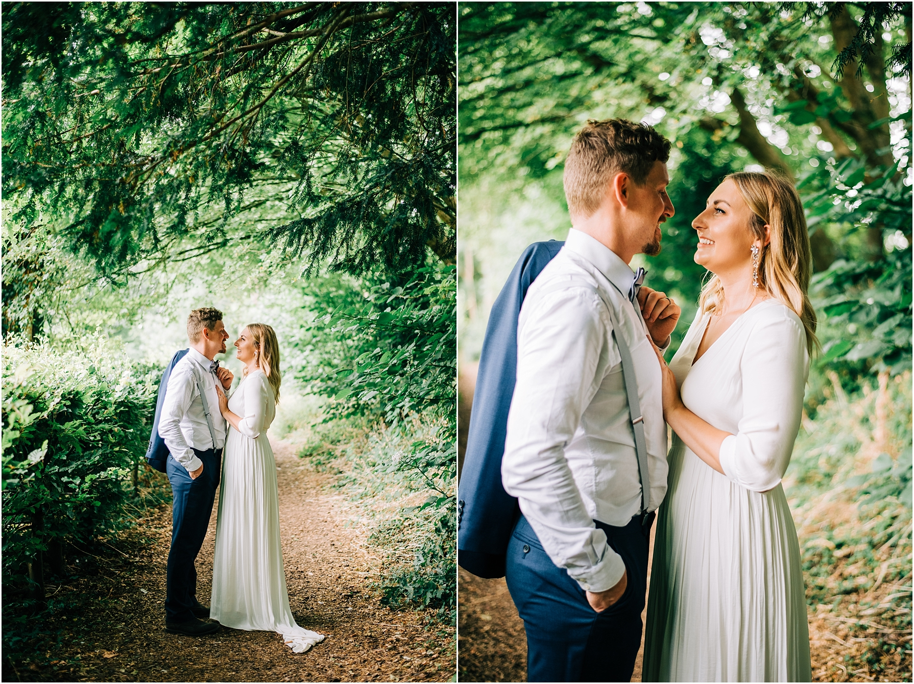 couple portraits at rococo gardens painswick